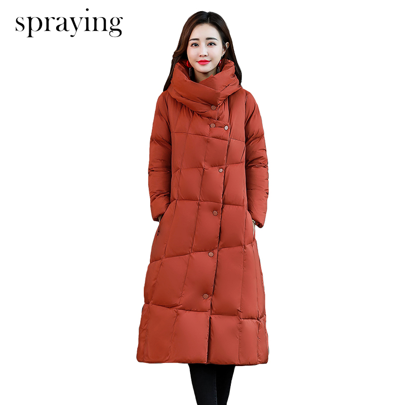 Top quality women warm jacket solid long cotton coat Covered button stand collar winter jacket women