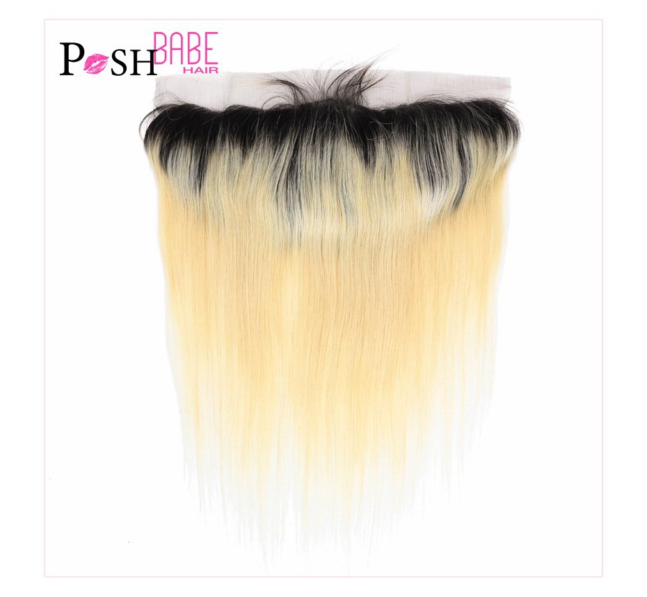 613 Blonde Colored Human Hair Swiss Frontal Closure (16)