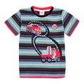 Летние детской одежды nova дети мальчик футболки 2016 новый о-образным вырезом полосатый мультфильм шаблон мальчик футболка дешевые продажа мальчик tee