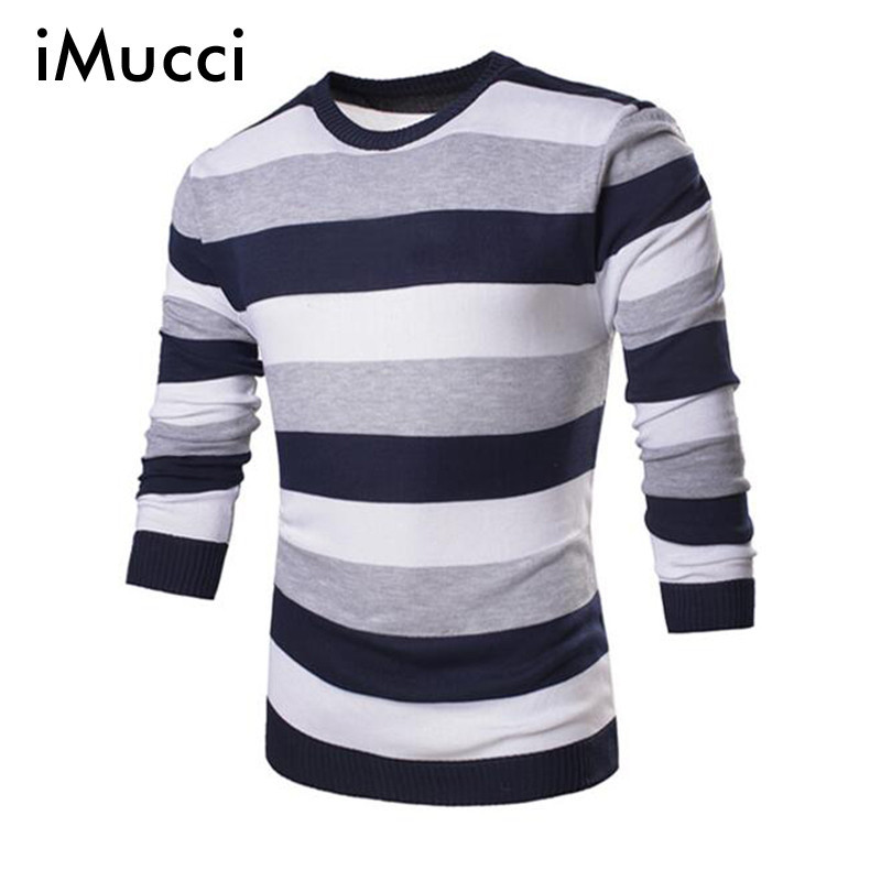 2017 Classic Wide Stripes Men Hedging Round Neck Long-Sleeved Knit Sweater Slim M-2XL Mens Sweater
