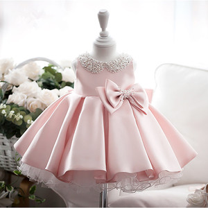 Cute Baby Girl Dress 1 year Birthday Pink Tulle Princess Dress Beads Bow Baptism Gown Newborn Wedding Party Christening Vestidos(China)