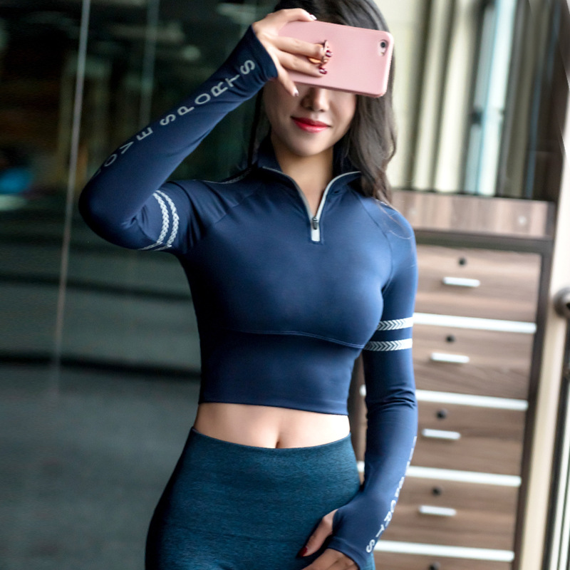 Sport Tights Yoga Crop Top Long Sleeve Sports T-shirts Women T Shirts Sexy Sports Tops Gym Clothing Fitness Top Tee Shirt Femme Лосины