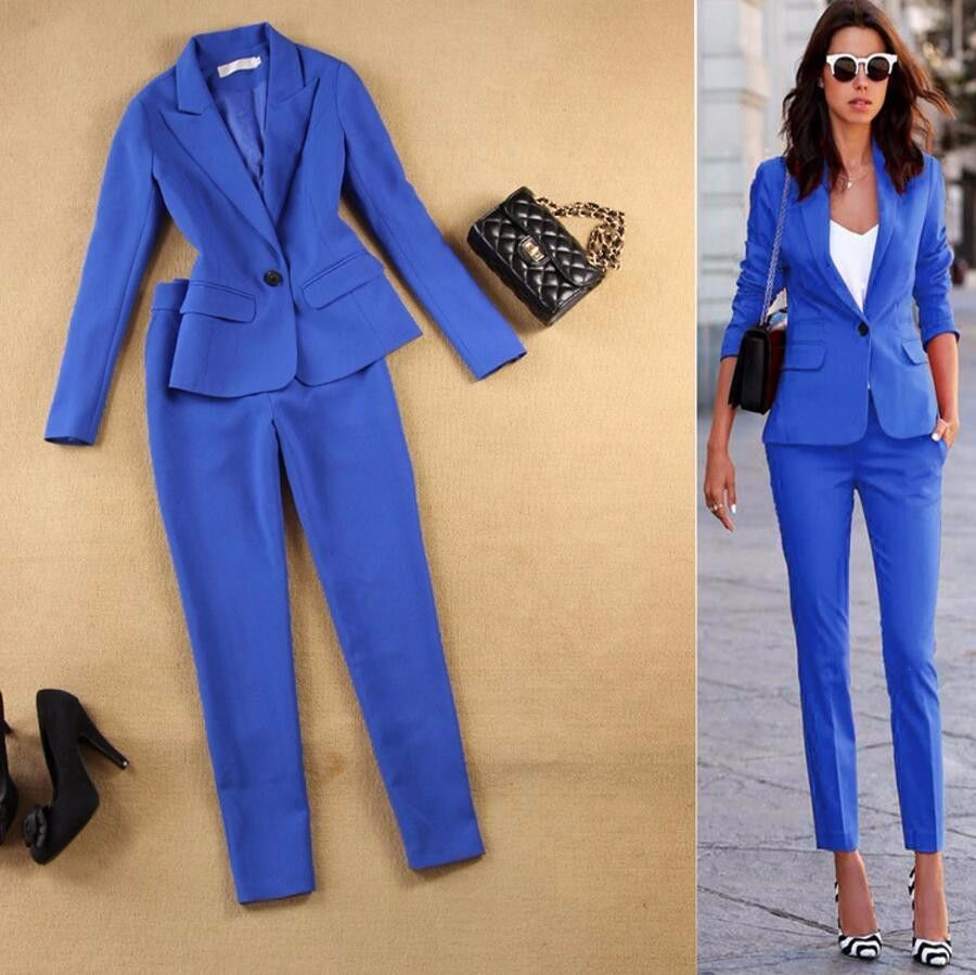 5-1 Women\'s Business Suits 2 Piece Sets One Button Blazer Suit Jacket Set