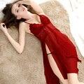 S-XXL Sexy Roupa de Dormir De Alta Qualidade Ladies Profundo Decote Em V Camisola Plus Size Mulheres Sleepwear Camisolas Cinta de Espaguete + G-String