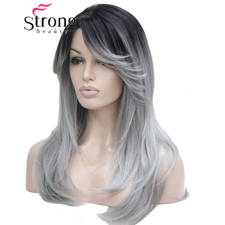 StrongBeauty Ombre Black Root With Grey Mix High-Quality Heat Ok Long Straight Skin Top Synthetic Wig