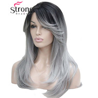 StrongBeauty Ombre Black Root With Grey Mix High Quality Heat Ok Long Straight Skin Top Wig