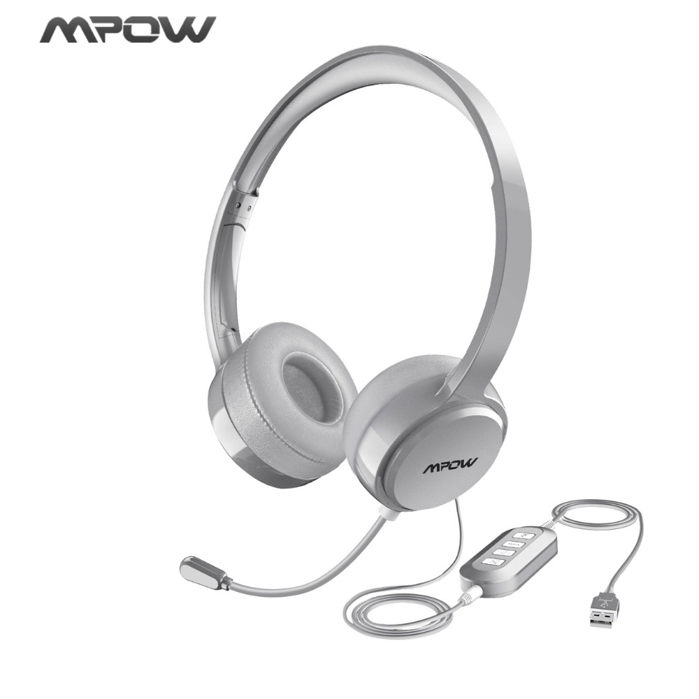 Mpow Wired Headphone USB/3.5mm Plug Noise Reduction Flexiable Microphone Headset For Skype Call Center Game Windows 10 Mac PC 1 2 pack mpow pro professional wireless bluetooth headphone with microphone 13h talking time for driver call center skype office