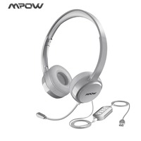 Mpow Wired Headphone USB/3.5mm Plug Noise Reduction Flexiable Microphone Headset For Skype Call Center Game Windows 10 Mac PC