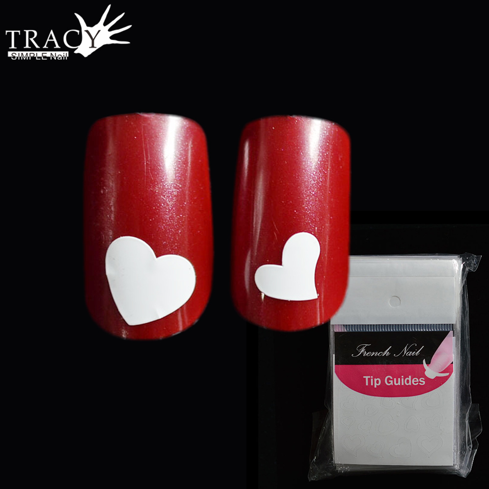 Tracy Einfache Nagel 1 Blatt Französisch Nail art Aufkleber Herzform ...