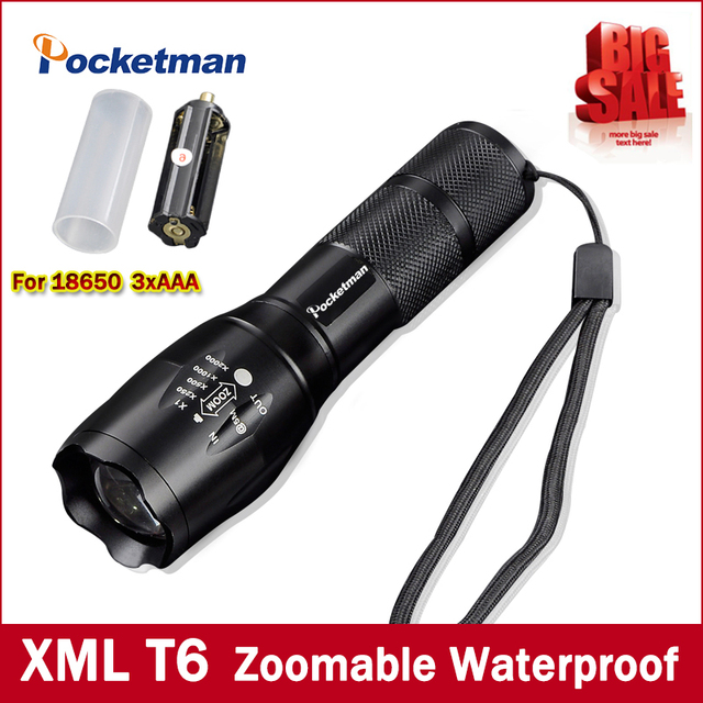 Hoge Heldere E17 3800 Lumen CREE XM-L T6 LED Zaklamp 5-Mode Zoomable linternas LED Torch door 1*18650 of 3 * AAA Gratis verzending