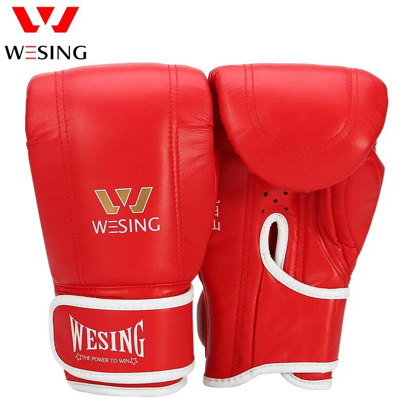 Кожаные Боксерские Перчатки Wesing Guantes de boxeo гелевые с открытым большим пальцем, мешок для боев, MMA muay thai Kick luva de muay thai