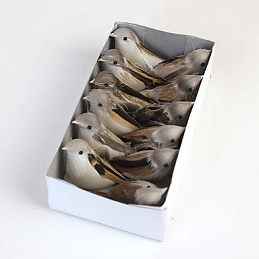 New hot sale 12pieces perched woodland birds artificial for Artificial birds for decoration