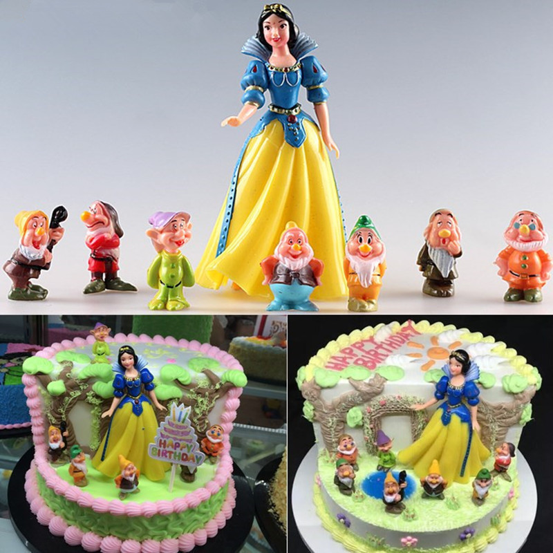 Snow White Princess With Seven Dwarfs Cupcake Toppers ...