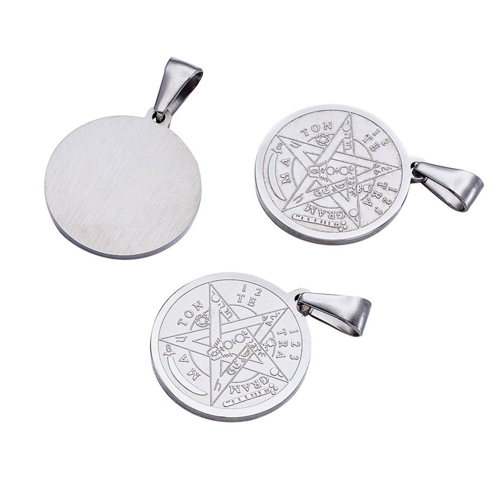 Image 3 - 10pc Religion Vintage 304 Stainless Steel Flat Round Carved Tetragrammaton Necklace Jewelry Findings Pentagram Pendant 27x24x2mm-in Pendants from Jewelry & Accessories