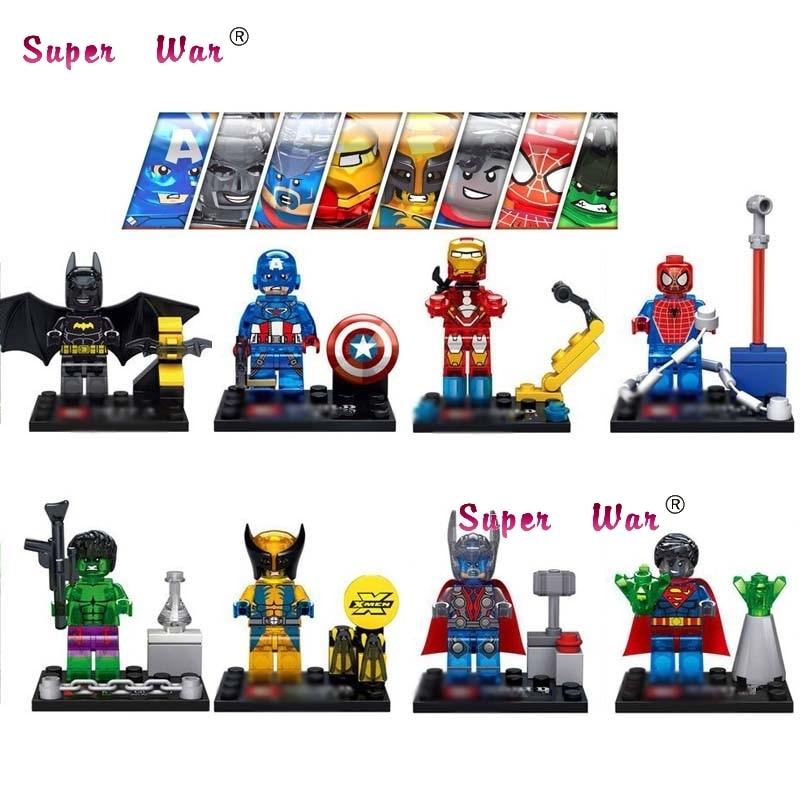 80pcs starwars superhero Crystal Hulk Batman Spiderman building blocks bricks friends for house games kids children toys
