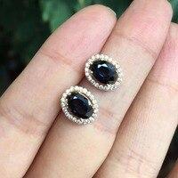 Натуральный черный сапфир серьги гвоздики для женщин 925 пробы серебро ювелирные украшения