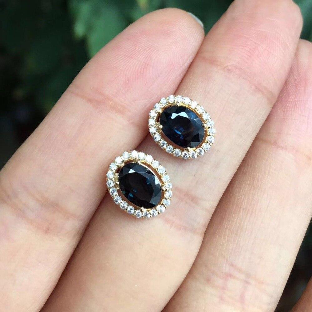 Boucles d'oreilles saphir noir naturel pour femmes bijoux fins en argent Sterling 925