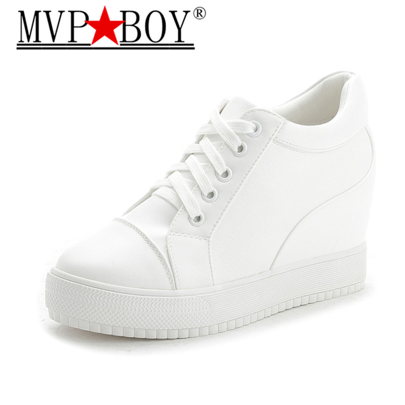 MVP BOY Women High Heels Platform Wedge Shoes Tenis Feminino Casual Basket Femme SHOES Gumshoe white black shoes