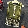 Мальчики Устанавливает Камуфляж Хлопок Жилет Шорты Crop Пуловер 2 Т ~ 7 Т 2 Шт. Набор Рукавов Стиль Тактический Ребенка галстук майка Одежда