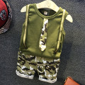 Boys Sets Camouflage Cotton Vest Shorts Crop Pullover 2T~7T 2 Pieces Set Sleeveless Style Tactical Child tie tank top Clothes