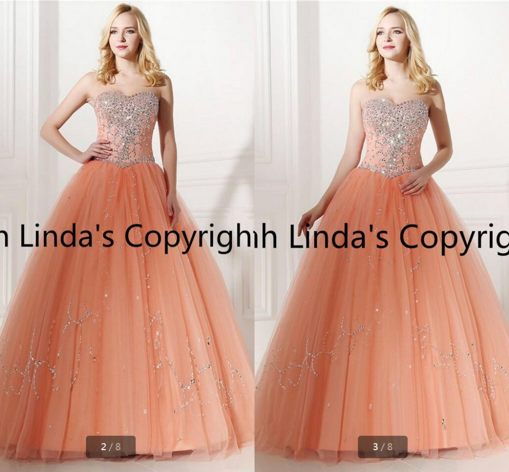 Real Models Peach Ball Gown Prom Dresses With Rhinestone Beadings Sequins  Vestidos De Quince Anos 2016-in Prom Dresses from Weddings   Events on ... 13bec406a97c