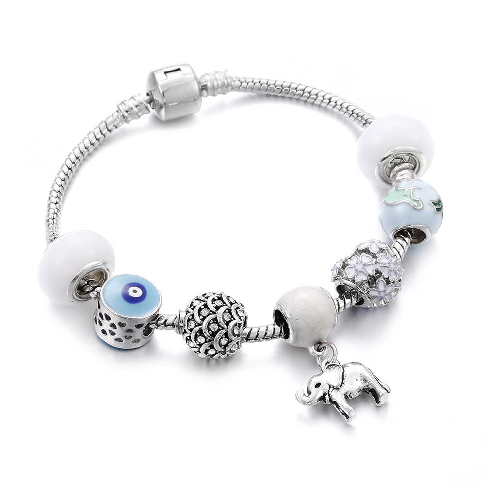 Silver Women Bracelets Crystal Bead Rainbow Elephant Smiley Face Pendant Snake Chain Charm Bracelet&Bangle For Girl Jewelry Gift