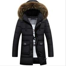 Мода 2016 Новая Зимняя Куртка Мужчины Хлопок Человек Длинный Толстый Теплый Случайные Куртка С Капюшоном Пальто зимняя куртка мужчины бесплатная доставка