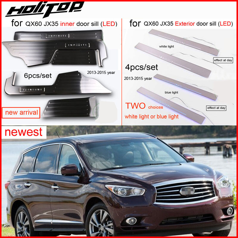 for INFINITI JX35 QX60 thicken LED light door sill/scuff plate 2013 2016, 4 or 8pcs,longer lifespan,better quality,anti scratch