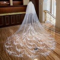 LZP318 настоящая свадебная вуаль фото удача Ласточка Appilque дизайн свадебная вуаль 3 метра Соборная вуаль свадебные аксессуары
