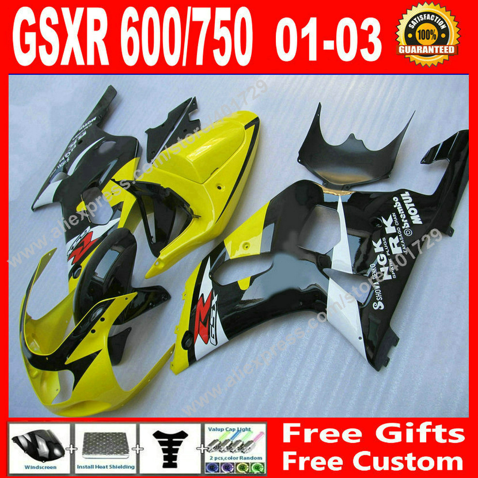 Hot sale Fairings for 2001 2002 2003 popular yellow black white SUZUKI GSXR 600 750 motocycle parts 01 02 03 fairing set HU04