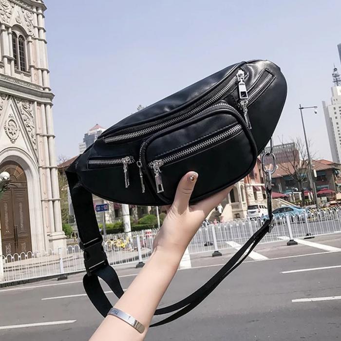 1PC Stylish Women Waist Bags Blakc PU Leather Adjustable Strap Zipper Open Chest Bag -WT