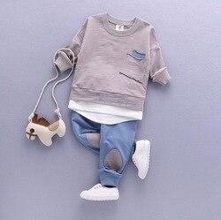 Комплект одежды из 2 предметов для маленьких мальчиков рубашка для маленьких мальчиков топы + штаны Повседневная одежда весенне-осенний ком...
