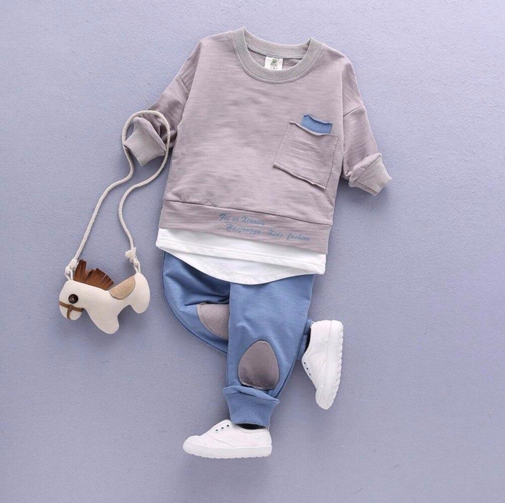 2 StÜck Kleinkind Baby Jungen Kleidung Outfit Kleinkind Junge Kinder Shirt Tops + Pants Kleidung Lässig Frühjahr/herbst Kinder Kleidung Set Baumwolle AusgewäHltes Material