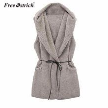 Libre de avestruz chaleco mujeres invierno cálido lana mezcla chaleco sin  mangas con capucha abrigo de bolsillo de cinturón de . b6940c4148ec