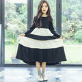 spring autumn children clothing girls dress long sleeve o neck white black striped maxi long princess dress kids clothes 2017