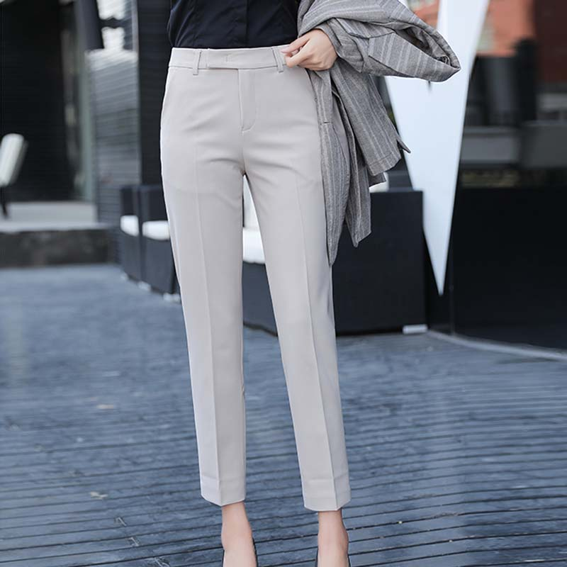 Women Slim Straight Suit Pants Female Summer Korean High Waist Pockets Trousers Women Causul Solid Loose AnkleLength Cargo Pants