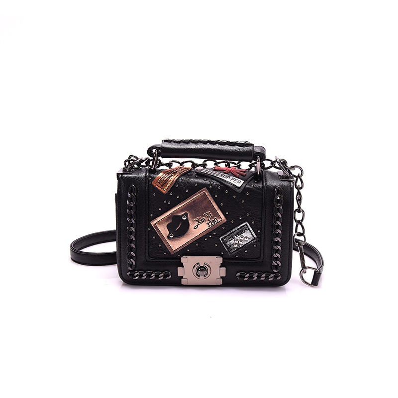 ФОТО New Cover Lock Flap Bags Fashion Classic Autumn and Winter Cover Lock Rivet Bags Cool Women Appliques Messenger Bags BG335