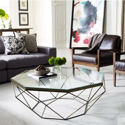 Nordic Iron Size Apartment Living Room Coffee Table Glass Round Table, Octagonal Transparent