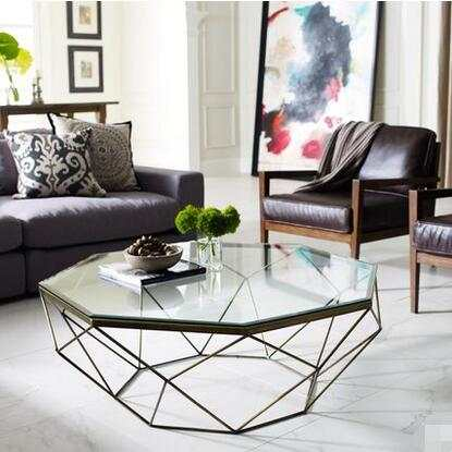 US $612.62 20% OFF|Nordic Iron size apartment living room coffee table  glass round table, octagonal transparent-in Coffee Tables from Furniture on  ...