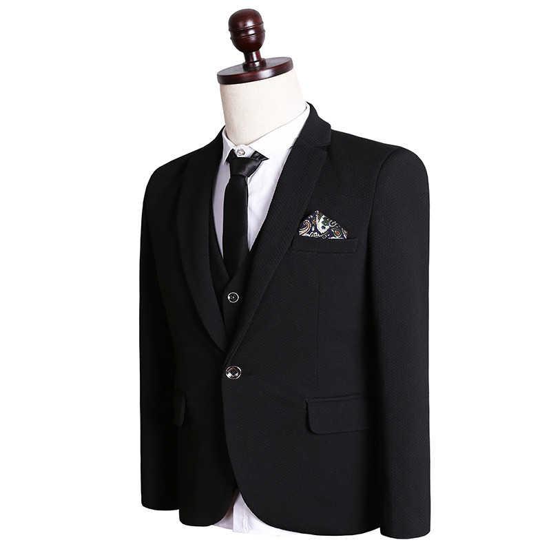 2017新しい春と秋スタイル男性スーツ高品質ビジネスカジュアル固体スリム新郎ドレス三ピーススーツ大きいサイズm-5xl