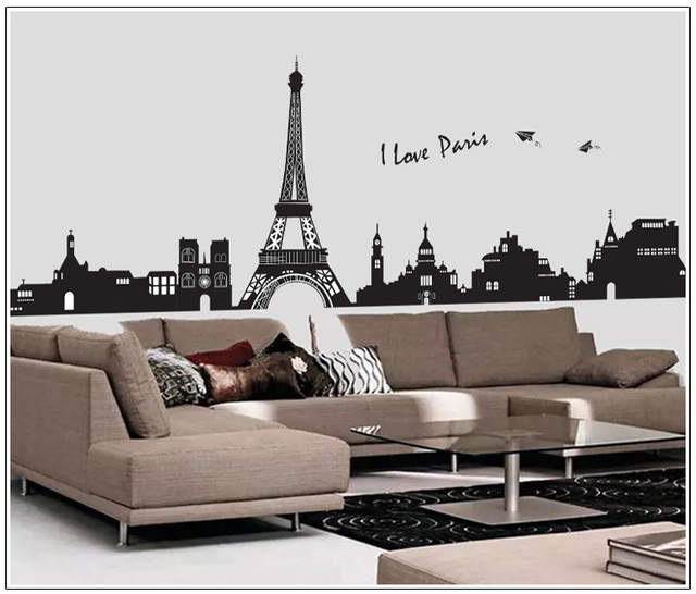 Large Removable Fashion Diy Eiffel Tower Wall Stickers For Living