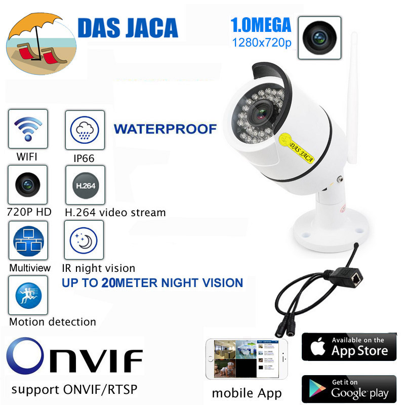 DasJaca onvif 720P wifi CCTV Camera Outdoor P2P Surveillance IP Camera hd wireless IRCUT Infrared security Camera Motion Alarm bw p2p cctv ip camera wifi wireless hd 720p onvif rotatable surveillance security camera cctv automatic sensor detector alarm