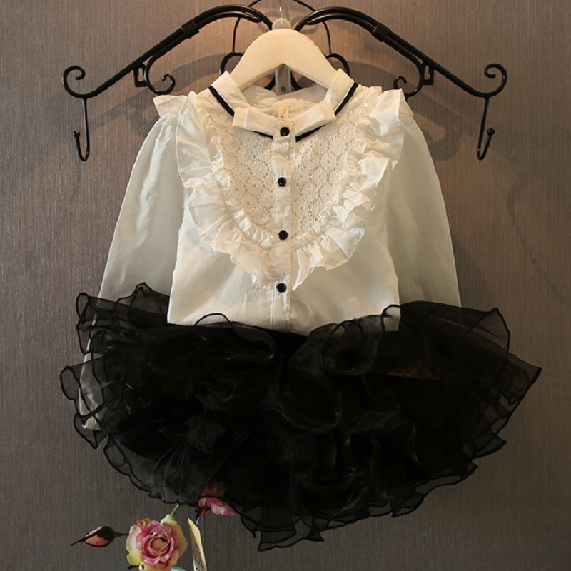 Hot 2015 New Graceful Chiffon Ruffle Top Blouse Shirt Tutu Skirt Kids Girls 2pcs Princess Set