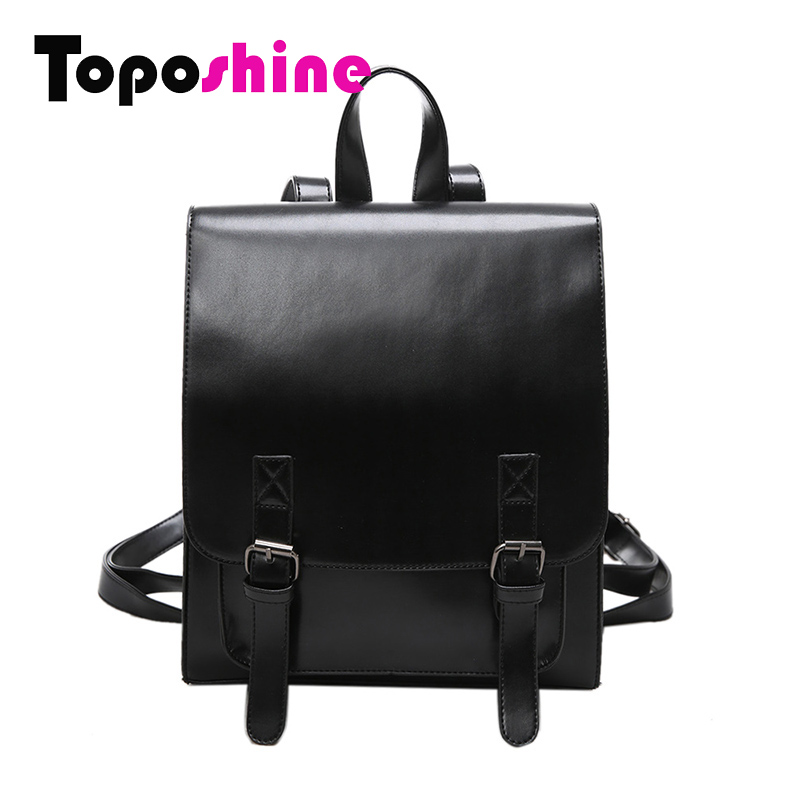 ФОТО Toposhine Double Belt Bright Patent Leather Women's Backpacks Fashion Candy Color Girls School Bag Cute Female Backpacks 1625