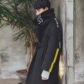 2017 Invierno Harajuku Diseñador de Moda de Corea Ropa Gótica Roja Para Hombre Pea Coat Abrigo Largo Trench Negro Abrigo de Lana Hombres de la Chaqueta
