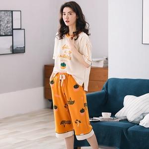 Image 4 - New Arrival Summer 100%Cotton Women Pajamas Set Cartoon Thin Print Pyjamas Women Short Sleeve Round Neck Big Size Pijama Mujer