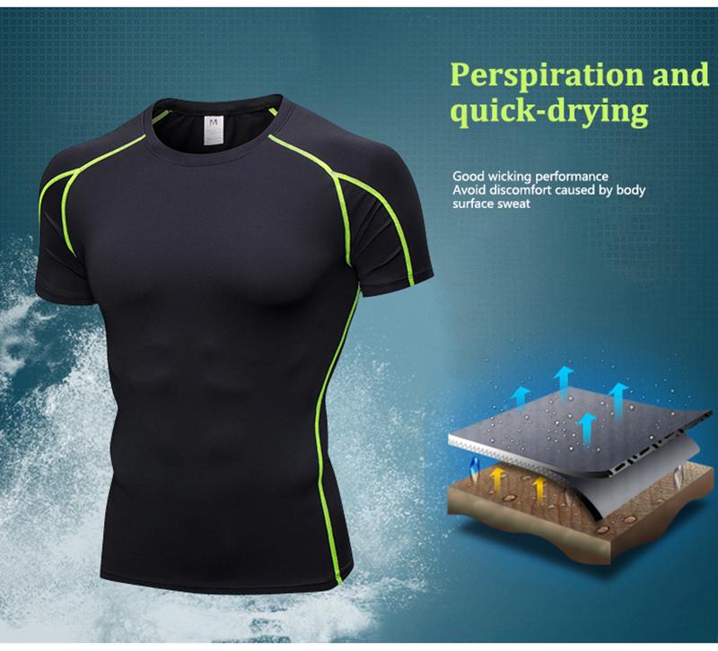 Compre Quick Dry Running Camisa Dos Homens De Fitness Compressão ... 2e88d12e9c9e6