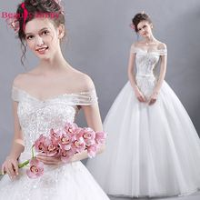 Beauty Emily White Sequined Beading Deep V-neck Ball Gwon Plus Size Wedding Dresses 2017 Bridal Party Sexy
