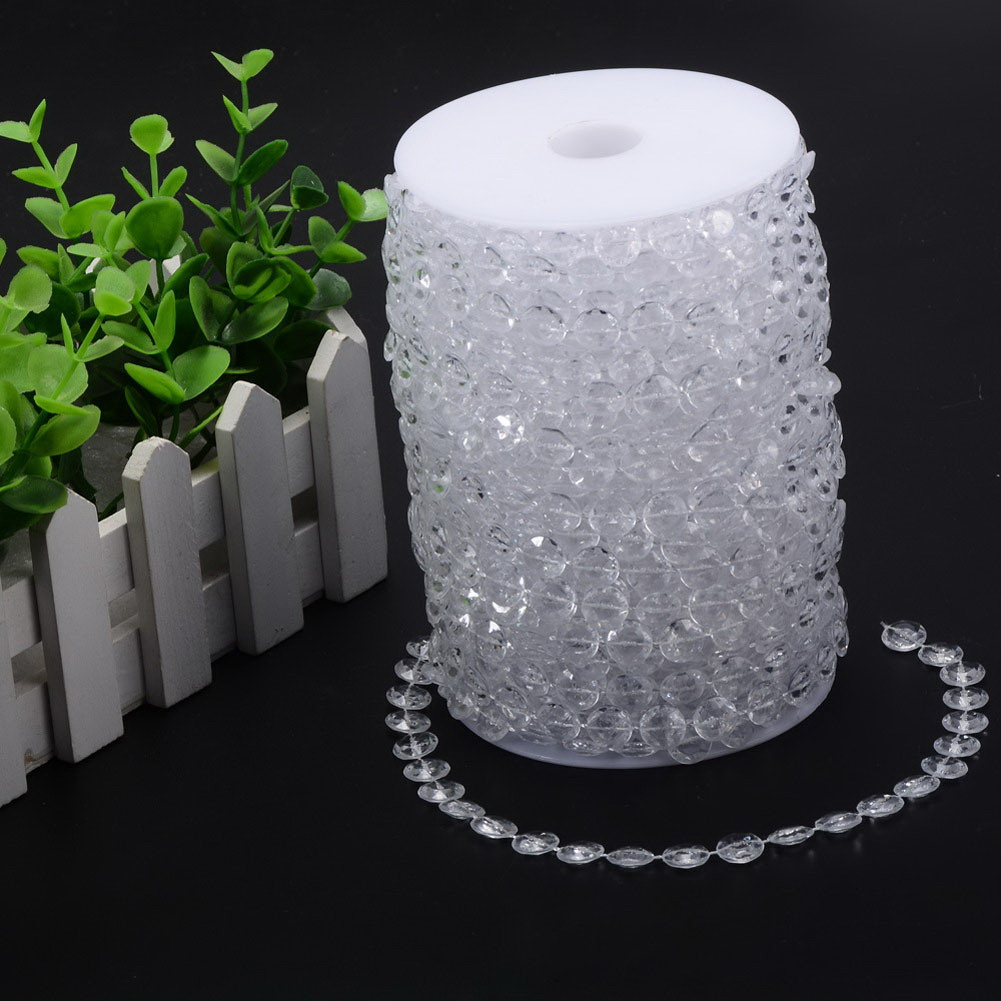 1 Roll 33FT 10meters Garland Diamond Acrylic Crystal Bead Curtain Wedding Marriage DIY Party Christmas Tree Topper Decoration