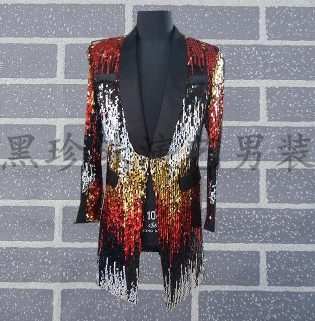 Men Suits Designs Masculino Homme Terno Stage Costumes For Singers Men Multicolour Sequin Blazer Dance Clothes Jacket Star Style